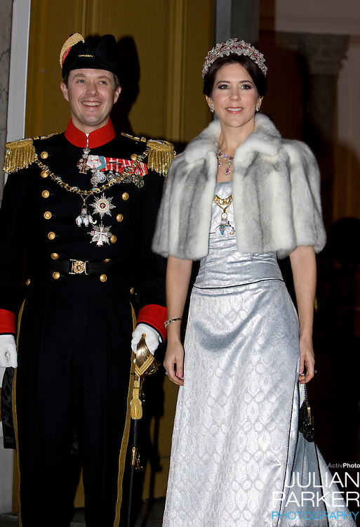 Crown Prince Frederik & Crown Princess Mary of Denmark attend the Traditional New Year Gala Dinner, at Amalienborg Palace in Copenhagen Denmark