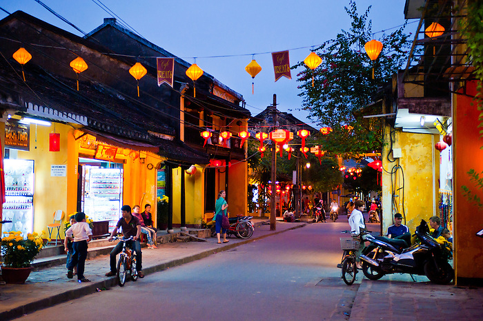 Hoi An Streets at Night, Vietnam. Many of the streets are decorated by chinese lanterns at night...NB: This photo contains some levels of noise