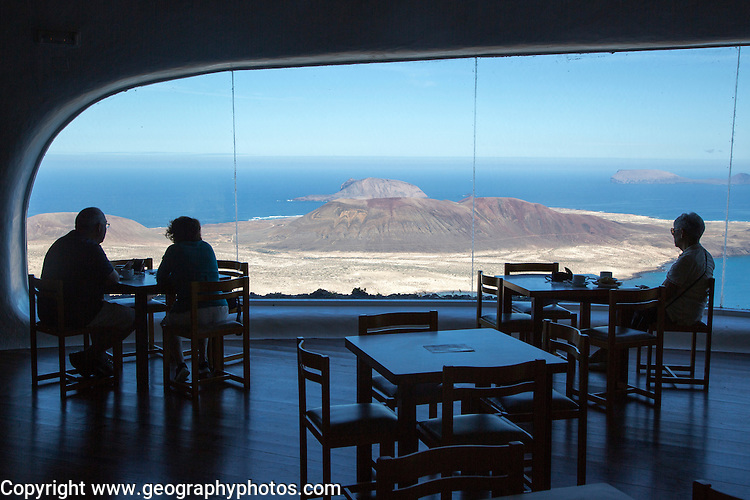 Cafe inside Mirador del Rio designed by Cesar Manrique, Lanzarote, Canary Islands, Spain