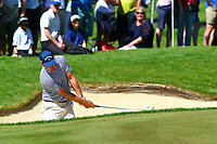 Nino Bertasio chips out of a bunker on the 14th green during the BMW PGA Golf Championship at Wentworth Golf Course, Wentworth Drive, Virginia Water, England on 27 May 2017. Photo by Steve McCarthy/PRiME Media Images.