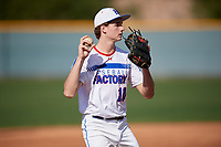 Christian Presley during the Under Armour All-America Pre-Season Tournament, powered by Baseball Factory, on January 19, 2019 at Sloan Park in Mesa, Arizona.  Christian Presley is a third baseman / right handed pitcher from Cordova, Tennessee who attends Saint Benedict at Auburndale High School and is committed to Lawson State Community College.  (Mike Janes/Four Seam Images)