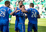 Hibs v St Johnstone.....30.04.11.Kevin Moon celebrates his goal .Picture by Graeme Hart..Copyright Perthshire Picture Agency.Tel: 01738 623350  Mobile: 07990 594431