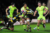 Denny Solomona of Sale Sharks takes on the Northampton Saints defence. Aviva Premiership match, between Northampton Saints and Sale Sharks on December 23, 2016 at Franklin's Gardens in Northampton, England. Photo by: Patrick Khachfe / JMP