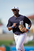 Detroit Tigers center fielder Daz Cameron (75) jogs back to the dugout during a Grapefruit League Spring Training game against the Atlanta Braves on March 2, 2019 at Publix Field at Joker Marchant Stadium in Lakeland, Florida.  Tigers defeated the Braves 7-4.  (Mike Janes/Four Seam Images)