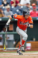Cal State Fullerton outfielder Josh Vargas (40) runs to first base during the NCAA College baseball World Series against the Vanderbilt Commodores Titans on June 15, 2015 at TD Ameritrade Park in Omaha, Nebraska. Vanderbilt beat Cal State Fullerton 4-3. (Andrew Woolley/Four Seam Images)