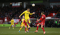 Fleetwood Town's Ched Evans with a header towards goal<br /> <br /> Photographer Rob Newell/CameraSport<br /> <br /> Emirates FA Cup Second Round - Crawley Town v Fleetwood Town - Sunday 1st December 2019 - Broadfield Stadium - Crawley<br />  <br /> World Copyright © 2019 CameraSport. All rights reserved. 43 Linden Ave. Countesthorpe. Leicester. England. LE8 5PG - Tel: +44 (0) 116 277 4147 - admin@camerasport.com - www.camerasport.com