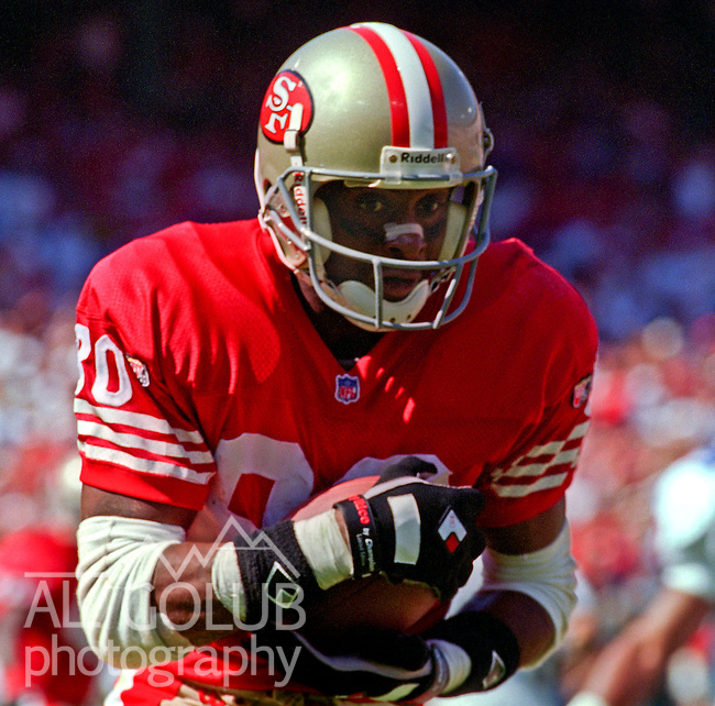 San Francisco 49ers vs. New England Patriots at Candlestick Park Sunday, September 17, 1995.  49ers beat Patriots 28-3.  San Francisco 49ers wide receiver Jerry Rice (80).