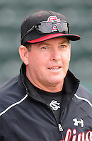 Head coach Ray Tanner (1) of the South Carolina Gamecocks prior to a game against the Clemson Tigers on Tuesday, March 8, 2011, at Fluor Field in Greenville, S.C.  Photo by Tom Priddy / Four Seam Images