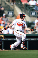 Baltimore Orioles outfielder Chris Parmelee (41) during a Spring Training game against the Detroit Tigers on March 4, 2015 at Ed Smith Stadium in Sarasota, Florida.  Detroit defeated Baltimore 5-4.  (Mike Janes/Four Seam Images)