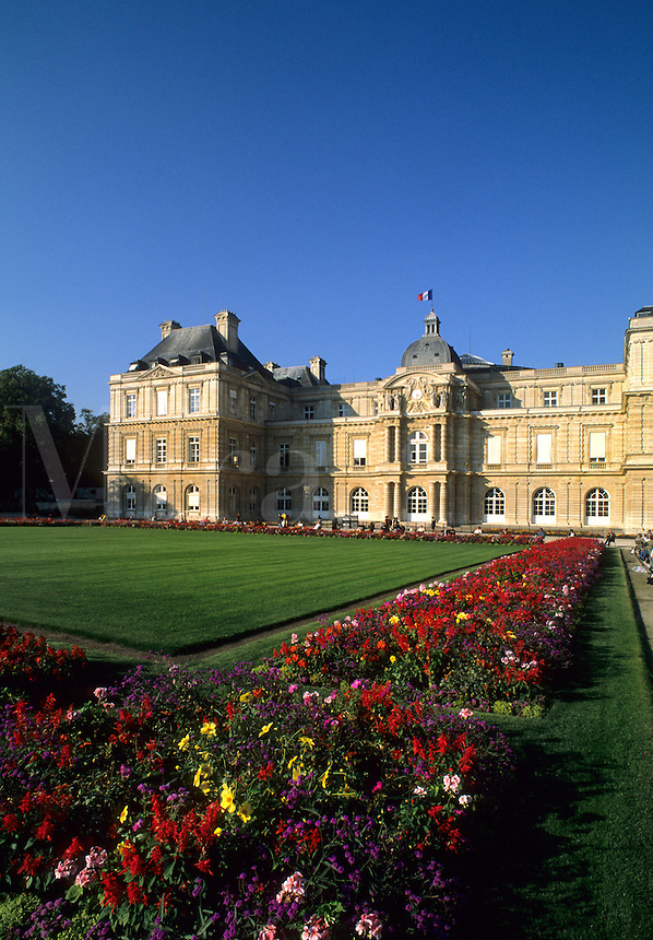 Luxembourgh Palace with flowers in Paris France