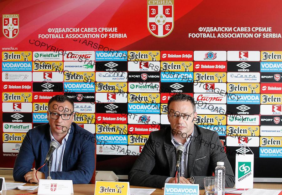 Fudbal soccer <br /> Mladen Dodic (R) selektor U21 selekcije Head coach and Pavle Simic (L)<br /> Beograd, 29.05.2015.<br /> foto: Srdjan Stevanovic/Starsportphoto &copy;