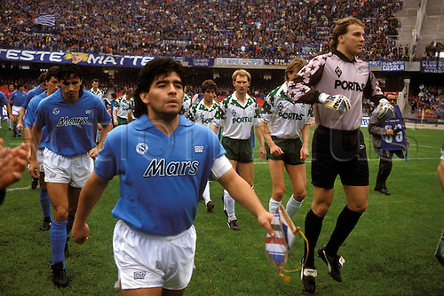22.11.1989  Diego Armando Maradona playing for Napoli against Werder Bremen, UEFA-Cup.