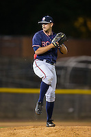 Rome Braves relief pitcher Trevor Belicek (26) in action against the Hickory Crawdads at L.P. Frans Stadium on May 12, 2016 in Hickory, North Carolina.  The Braves defeated the Crawdads 3-0.  (Brian Westerholt/Four Seam Images)