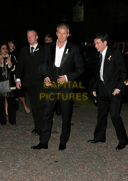 DAVID BECKHAM.Arrivals - Greatest Britons 2007 Awards Show, .The London Studios, London, Engand, May 21st 2007..full length black suit white shirt security guards minders.CAP/AH.©Adam Houghton/Capital Pictures.