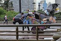 ATENCAO EDITOR IMAGEM EMBARGADA PARA VEICULOS INTERNACIONAIS - SAO PAULO, SP, 14 DE JANEIRO DE 2013.- CENA DO DIA - Catador e visto carregando cachorros na carroca, no viaduto do cha, regiao central da capital, a tarde desta segunda feira, 14.  (FOTO: ALEXANDRE MOREIRA / BRAZIL PHOTO PRESS).
