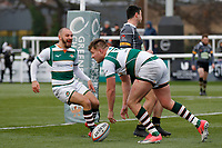 TRY - Harry Sloan of Ealing Trailfinders scores during the Championship Cup Quarter Final match between Ealing Trailfinders and Nottingham Rugby at Castle Bar , West Ealing , England  on 2 February 2019. Photo by Carlton Myrie / PRiME Media Images.
