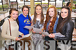 Presentation Secondary School Tralee students collecting their Junior Cert results on Wednesday, from left: Orla Keane (Ballymac), Shannon Daly (Tralee), Sinead Brosnan (Tralee), Leah Kelly (Oakpark) and Mary Doody (Tralee)..