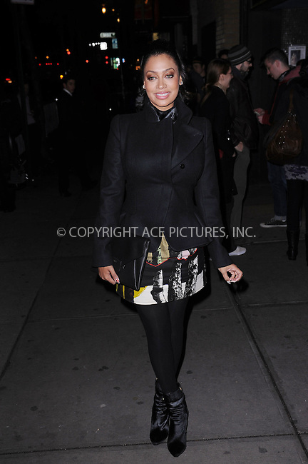 WWW.ACEPIXS.COM . . . . . .November 14, 2012...New York City.... La La Anthony attends a screening of Summit Entertainments The Twilight Saga Breaking Dawn Part 2 at Sunshine Landmark Theater on November 14, 2012 in New York City. ....Please byline: KRISTIN CALLAHAN - WWW.ACEPIXS.COM.. . . . . . ..Ace Pictures, Inc: ..tel: (212) 243 8787 or (646) 769 0430..e-mail: info@acepixs.com..web: http://www.acepixs.com .