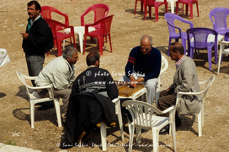 Men playing a board game in Martyr's Place, Beirut, Lebanon.