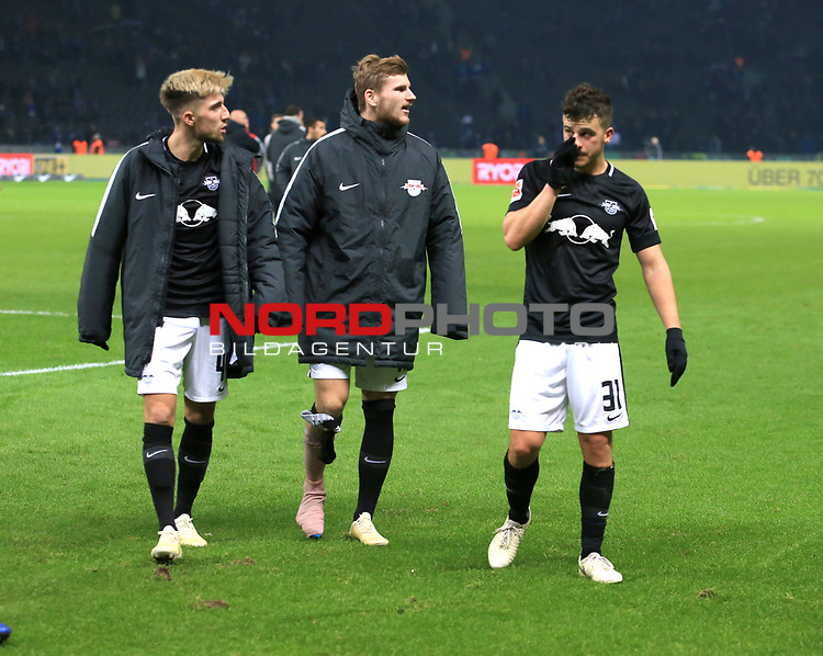 03.11.2018, OLympiastadion, Berlin, GER, DFL, 1.FBL, Hertha BSC VS. RB Leipzig, <br /> DFL  regulations prohibit any use of photographs as image sequences and/or quasi-video<br /> <br /> im Bild Kevin Kampl (RB Leipzig #44), Timo Werner (RB Leipzig #11), Diego Demme (RB Leipzig #31)<br /> <br />       <br /> Foto © nordphoto / Engler