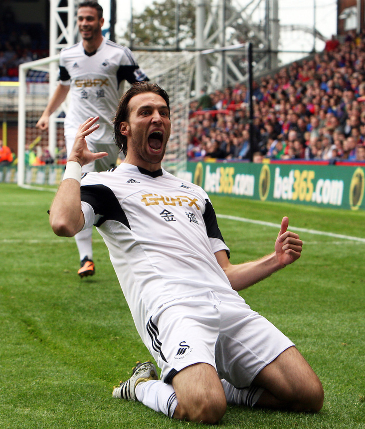 Swansea City's Michu celebrates scoring the opening goal <br /> Photo by Kieran Galvin/CameraSport<br /> <br /> Football - Barclays Premiership - Crystal Palace v Swansea City - Sunday 22nd September 2013 - Selhurst Park - London<br /> <br /> &copy; CameraSport - 43 Linden Ave. Countesthorpe. Leicester. England. LE8 5PG - Tel: +44 (0) 116 277 4147 - admin@camerasport.com - www.camerasport.com