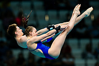 Picture by Rogan Thomson/SWpix.com - 15/07/2017 - Diving - Fina World Championships 2017 -  Duna Arena, Budapest, Hungary - Lois Toulson and Matty Lee of Great Britain compete in the Mixed 10m Synchro Platform Preliminary.