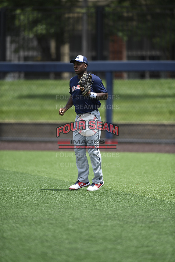TEMPORARY UNEDITED FILE:  Image may appear lighter/darker than final edit - all images cropped to best fit print size.  <br /> <br /> Under Armour All-American Game presented by Baseball Factory on July 19, 2018 at Les Miller Field at Curtis Granderson Stadium in Chicago, Illinois.  (Mike Janes/Four Seam Images) Maurice Hampton, Jr is an outfielder from Memphis University High School in Alrington, Tennessee committed to LSU.