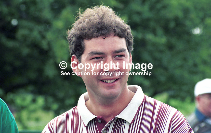Scott Henderson, Professional Golfer, Scotland, UK. Taken July 1998 at Murphy's Irish Open at Druids Glen near Dublin. Ref: 199807036.<br />