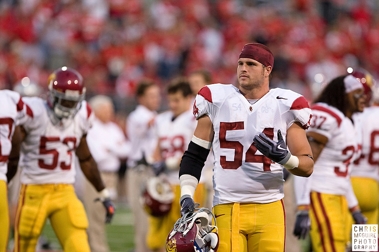 12 September 2009:  Football -- USC linebacker Chris Galippo gets ready for their game against Ohio State at Ohio Stadium in Columbus.  USC won 18-15.  Photo by Christopher McGuire.
