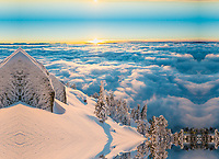 Cody Townsend skiing above the clouds, Lake Tahoe. This photography won the 2018 Powder Magazine Photo Of The Year award.
