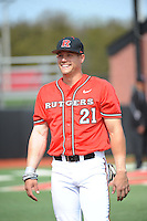 Rutgers University Scarlet Knights infielder Brian O'Grady (21) after a game against the University of Cincinnati Bearcats at Bainton Field on April 19, 2014 in Piscataway, New Jersey. Rutgers defeated Cincinnati 4-1.  (Tomasso DeRosa/ Four Seam Images)
