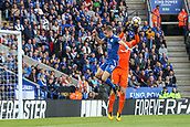 9th September 2017, King Power Stadium, Leicester, England; EPL Premier League Football, Leicester City versus Chelsea; Jamie Vardy of Leicester City jumps high but can't reach the ball
