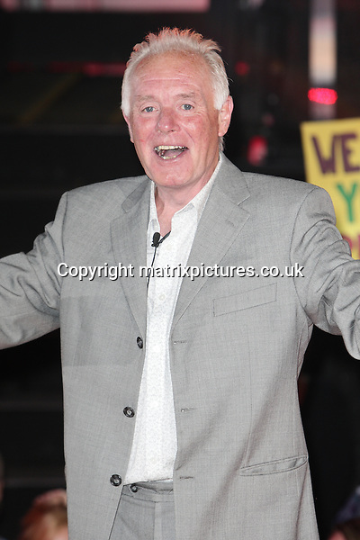 NON EXCLUSIVE PICTURE: MATRIXPICTURES.CO.UK<br /> PLEASE CREDIT ALL USES<br /> <br /> WORLD RIGHTS<br /> <br /> English actor Bruce Jones is pictured being evicted from the Celebrity Big Brother house, at the Elstree Studios in Hertfordshire.<br /> <br /> The 60 year-old is the fifth person to leave the house during the double eviction.<br /> <br /> SEPTEMBER 6th 2013<br /> <br /> REF: GBH 135910