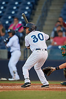 Tampa Tarpons designated hitter Timothy Robinson (30) at bat during a game against the Daytona Tortugas on April 18, 2018 at George M. Steinbrenner Field in Tampa, Florida.  Tampa defeated Daytona 12-0.  (Mike Janes/Four Seam Images)