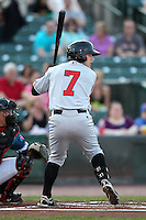 Indianapolis Indians outfielder Alex Presley #7 at bat during a game against the Rochester Red Wings at Frontier Field on June 18, 2011 in Rochester, New York.  Rochester defeated Indianapolis 12-7.  (Mike Janes/Four Seam Images)