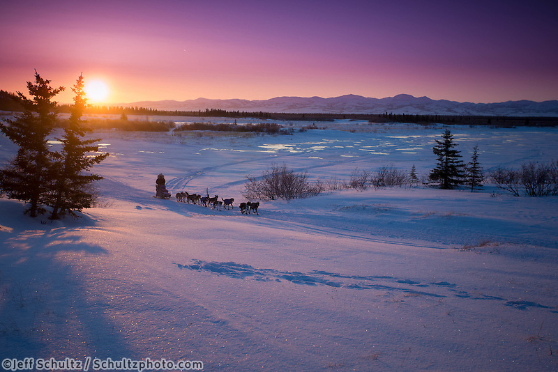 Kelley Griffin runs on the trail at sunrise as she gets closer to the Unalakleet checkpoint on Monday morning March 11, 2013...Iditarod Sled Dog Race 2013..Photo by Jeff Schultz copyright 2013 DO NOT REPRODUCE WITHOUT PERMISSION