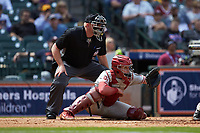 Oklahoma Sooners catcher Brady Lindsly (40) sets a target as home plate umpire Mark Hutchinson looks on during the game against the Missouri Tigers in game four of the 2020 Shriners Hospitals for Children College Classic at Minute Maid Park on February 29, 2020 in Houston, Texas. The Tigers defeated the Sooners 8-7. (Brian Westerholt/Four Seam Images)