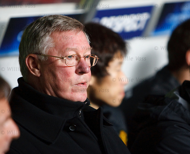 Alex Ferguson watches from the stand.