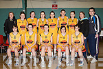 St Joseph's Blazers team that played Meteors in the under 18 Women National cup semi-final at Parochial Hall, Cork last Saturday front row l-r: Tracey Mulvihill, Sarah Sheehy, Lorraine Scanlon, Megan Galwey, Samantha Ahern. Back row: Claire Sheehy, Eilish Dillon, Sinead Guiney, Seorcha McNulty, Maeve Roche, Rachel Collins, Eabhnait Scanlon, Ann Scanlon and James Daughton.