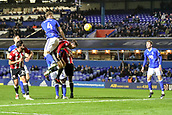 1st November 2017, St. Andrews Stadium, Birmingham, England; EFL Championship football, Birmingham City versus Brentford; Marc Roberts of Birmingham City climbs high to get a header towards goal