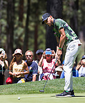 Steph Curry putts during the ACC Golf Tournament at Edgewood Tahoe Golf Course in South Lake Tahoe on Sunday, July 14, 2019.