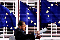 Silvio Berlusconi and on the screen European flags<br /> Rome February 14th 2019. Silvio Berlusconi appears as a guest on the Tv show Porta a Porta.<br /> Foto Samantha Zucchi Insidefoto