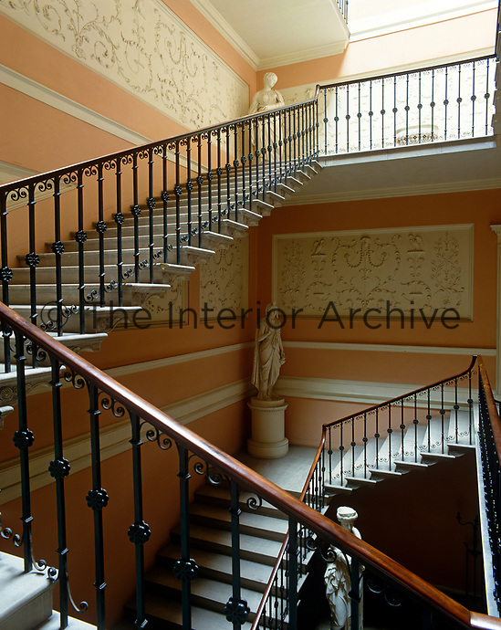 The Great Staircase was finally finished in the 1920s but follows Robert Adam's original designs, including those for the plaster decoration