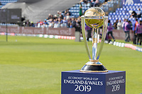ICC CWC 2019 Trophy on display at Sophia Gardens before England vs Bangladesh, ICC World Cup Cricket at Sophia Gardens Cardiff on 8th June 2019