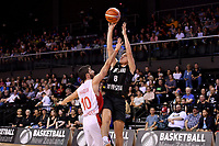 New Zealand Tall Blacks' Derone Raukawa and Syria's Sebouth Kharadjian in action during the FIBA World Cup Basketball Qualifier - NZ Tall Blacks v Syria at TSB Bank Arena, Wellington, New Zealand on Sunday 2 2018. <br /> Photo by Masanori Udagawa. <br /> www.photowellington.photoshelter.com