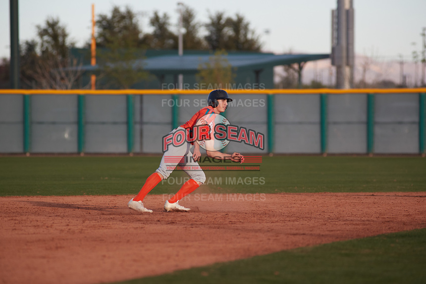 Petie Minor (3) of Golden Valley High School in EL Nido, California during the Baseball Factory All-America Pre-Season Tournament, powered by Under Armour, on January 14, 2018 at Sloan Park Complex in Mesa, Arizona.  (Freek Bouw/Four Seam Images)