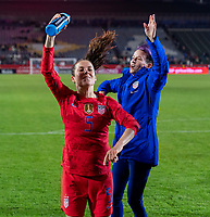 CARSON, CA - FEBRUARY 7: Kelley O'Hara #5 and Megan Rapinoe #15 of the United States dance during a game between Mexico and USWNT at Dignity Health Sports Park on February 7, 2020 in Carson, California.