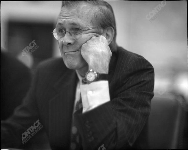 Secretary of Defense Donald Rumsfeld at Pentagon briefing, Arlington, Virginia, USA, April 11, 2003