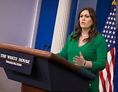White House Spokesperson Sarah Sanders holds a news briefing at The White House in Washington, DC, March 15, 2018. Credit: Chris Kleponis / CNP