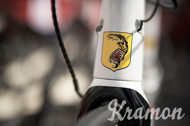 """André """"The Gorilla"""" Greipel (DEU/Lotto-Belisol) logo/shield stamped to the head tube of his Ridley Noah Fast<br /> <br /> 2014 Tour de France<br /> stage 15: Tallard - Nîmes (222km)"""